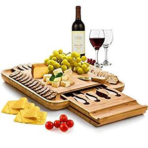 Bamboo Cheese Board with Cutlery Set, Wooden Charcuterie Platter and Serving Meat Board with Slide-Out Drawer with 4 Stainless Steel Knife and Server Set - Great Gift Idea
